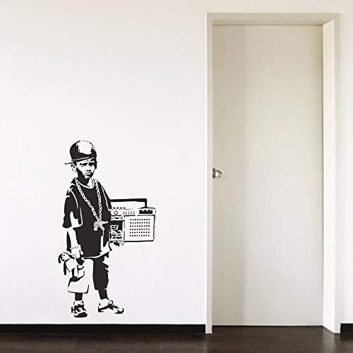 zhuziji Junge Teenager Radio Cool Cap Flur Junge Schlafzimmer Wohnzimmer Home Fenster Dekor Vinyl Kunst Wandtattoo Stick schwarz 42X76cm (Schweine Decken, In Halloween)
