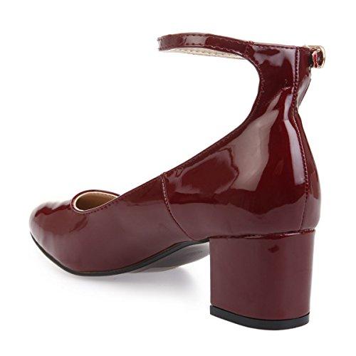 Vernice Pompe Fibbia Rosso Caviglia Cinturino Modeuse Con Alla zzqOxr56wU