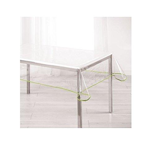 Ligne Décor Nappe cristal rectangle 140 x 240 cm PVC uni Garden/biais menthe