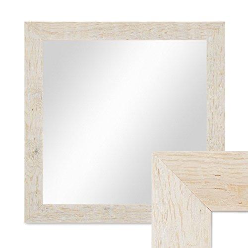PHOTOLINI Wand-Spiegel 36x36 cm im Massivholz-Rahmen Strandhaus-Stil Rustikal Weiss...