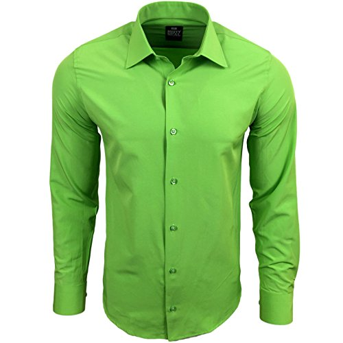Rusty Neal Herren Einfarbig Hemd Business Hochzeit Slim Fit S bis 6XL 55 Grün