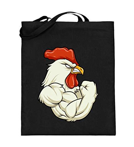 Cotton Muskel-shirt (Shirtee Rooster At The Gym - Fitness Muskeln Hahn Gockel Bizeps Training Sport Motivation Erfolg - Jutebeutel (mit langen Henkeln) -38cm-42cm-Schwarz)