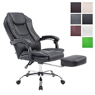 CLP Sillón de oficina y Relax Castle, con reposapiés extraíble, acolchada, ajustable en altura, reclinable, ergonómico, silla de oficina, silla Gaming, Capacidad de carga 130kg