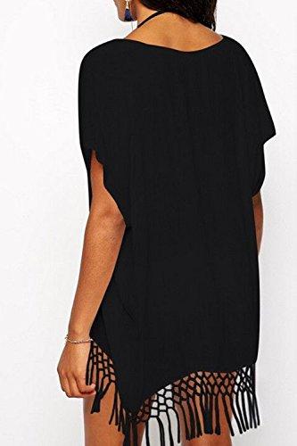 Donna Summer In Maniche Corte / Collo Tassel Costume Coprire Abbigliamento Da Club Black
