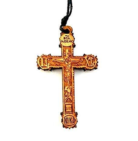 IconsGr 35 Halskette mit christlichem, griechisch-orthodoxem Holzkreuz-Anhänger