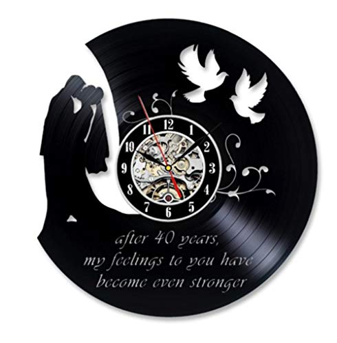 40 Años De Aniversario De Boda Mejor Regalo Vinilo Reloj De Pared Arte Sala De Regalo Modern Home Record Vintage Decoración No Led Light 12 Pulgadas