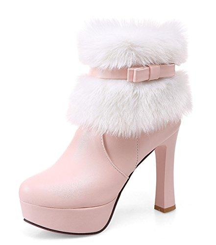 YE Damen Winter High Heels Plateau Warme Stiefeletten mit Roter Sohle Schleife Blockabsatz wasserdicht Schneestiefel Schuhe Rosa