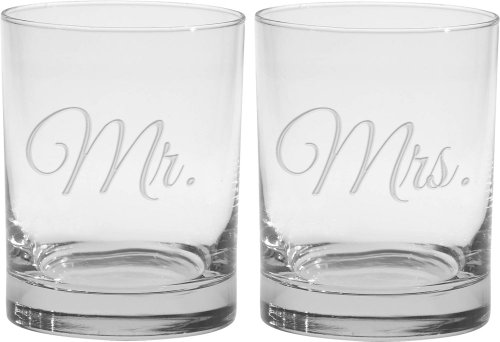 Culver 2-Piece Etched Mr. and Mrs. Double Old Fashioned Glasses Set, 14-Ounce by Culver 14 Oz Double Old Fashioned