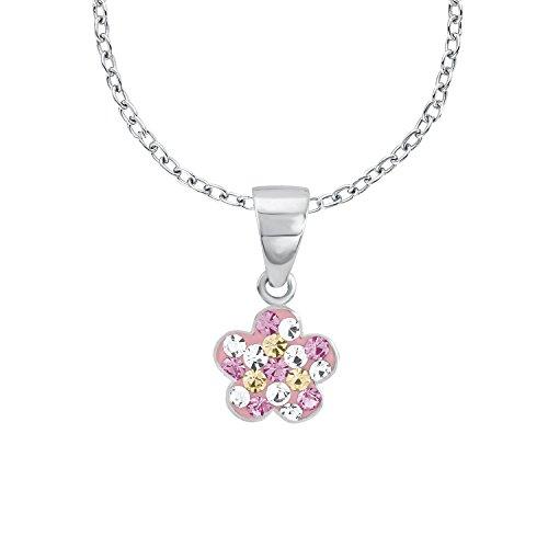 Prinzessin Lillifee Kinder-Kette mit Anhänger Blume 925 Silber rhodiniert Kristall mehrfarbig 38 cm...