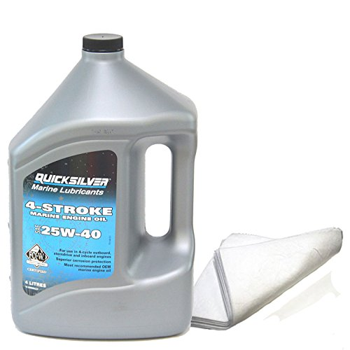 bootsshop in Bad Ischl Quicksilver 4-Stroke Marine Öl 25-W40-4 Liter - incl. MARETEAM® Ölbindetuch 430 x 480 mm -