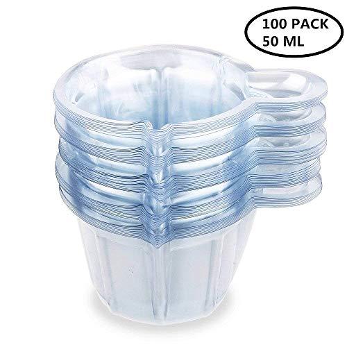 Urinbecher 100 Stück Urinprobenbecher 50ml Einweg-Urinprobenbecher aus Kunststoff für Ovulationstest/Schwangerschaftstest/pH-Test Klar von PPX