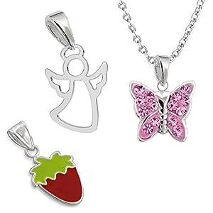 3 x ANHÄNGER + 1 x KETTE 925 Sterling Silber Mädchen Damen SET Engel Erdbeere Schmetterling
