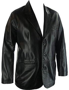 UNICORN Hombres Genuino real cuero chaqueta Estilo clásico Blazer traje Negro #G4