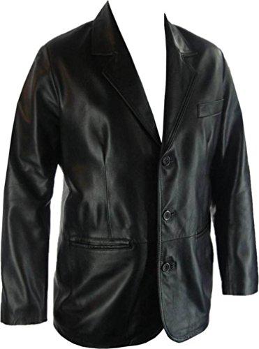 UNICORN Männer Echt Leder Jacke Klassiker Suit Blazer Schwarz #G4 Größe 46 Leder Echt Jacke