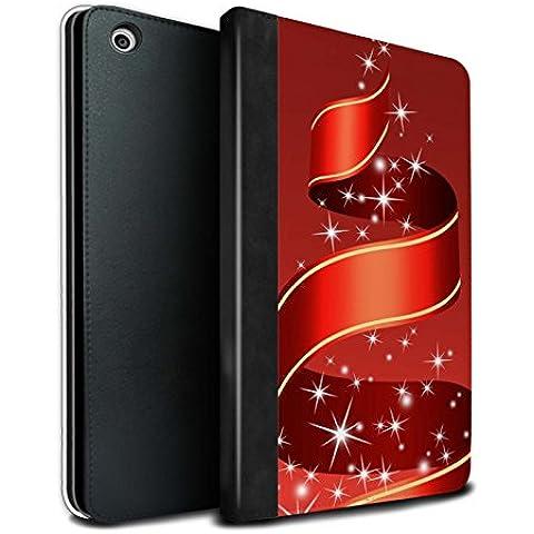 STUFF4 PU Pelle Custodia/Cover/Caso Libro per Apple iPad Mini 1/2/3 tablet / Nastro/Rosso / Decorazioni di Natale disegno