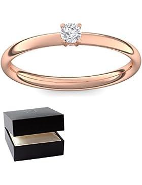 Verlobungsring Vorsteckring Rotgold Ring Zirkonia 750 + inkl. Luxusetui + Zirkonia Ring Rotgold Zirkoniaring Rotgold...