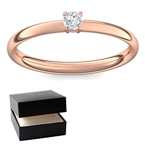 Verlobungsring Vorsteckring Rotgold Ring Diamant 585 + inkl. Luxusetui + Diamant Ring Rotgold Diamantring Rotgold 0,08 Carat Tw/VS (Rotgold 585) - Concinnity Amoonic...