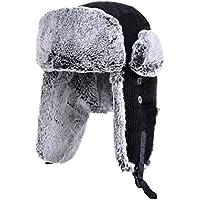 Zxcvb Sombrero Ciclismo de Invierno de los Hombres A Prueba de Viento Orejeras de Engrosamiento Viejo Hombre Exterior Cálido frío Lei Feng Cap Negro (Color : Negro, tamaño : One Size)