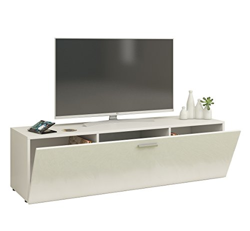 VCM Winalo 140 Meuble TV, Bois, Blanc, 40 x 40 x 140 cm