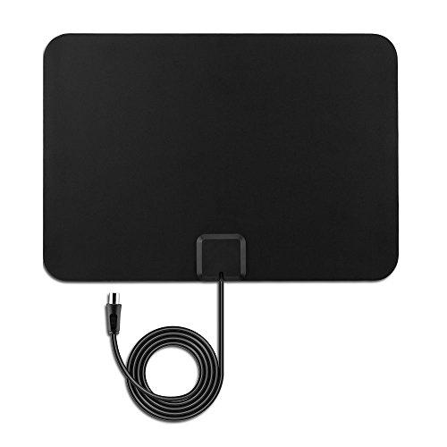 Antena de TV Ultra delgado Antena Interior HDTV - Pictek Amplificador Antena digital - 80KM gama de recepción, 25dBi, 3m cable alto rendimiento, Amplificador de Señal Removible - Negra