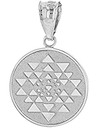 Solid 14 ct White Gold Yantra Tantric Indian Yoga Disc Circle Pendant