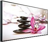 InfrarotPro | Infrarotheizung 750 Watt | Bildheizung 120x60x3 cm | Made in Germany | Geprüfte Technik | Ultra-HD Auflösung | (Steine mit Blume)