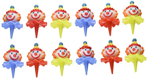 Oasis Supply Birthday 3D Clown Head Decorating Cupcake/Cake Picks, 2-1/2-Inch, Assorted Colors, Set of 12 by Oasis Supply (Clown Cupcake-picks)