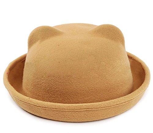 Butterme Donne della signora Girls Vintage orecchie simpatico gatto Trendy Bowler Derby Cap Hat (Cachi)