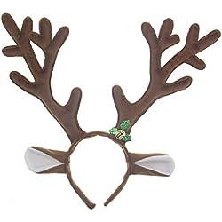 iTECHOR Kurzes Plüsch Rentier Geweih Stirnband für Weihnachten - Braun