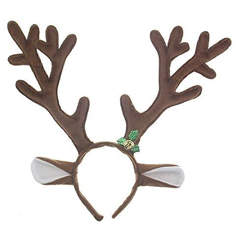 TXXCI Reindeer Antlers Christmas Headband With Bells- Brown