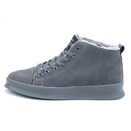 Homme Automne Hiver Chaussures En Coton Plus Cachemire Garder Au Chaud Chaussures De Sport Fond Épais Protection Des Pieds Euro Ballerine Taille 39-46 Gris