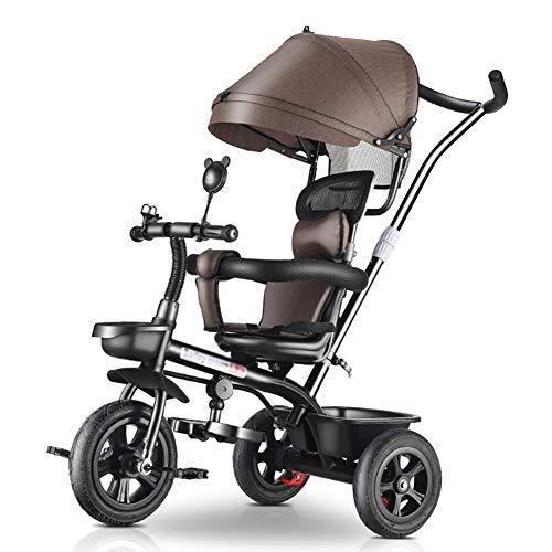 Dreiräder- Baby, 4-in-1-Kinderwagen, Lernfahrrad mit Schiebegriff, Verstellbares Verdeck, Blau/Braun/Rot (Color : Brown)