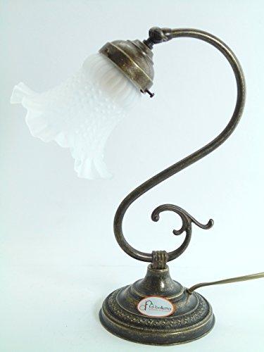 Lampe Messing brüniert Tischleuchte, Nachttisch, Kommode, Lampen Glas Jugendstil S30. Abmessungen:...