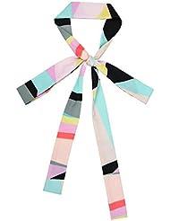 Geométricas color arco largo y delgado pequeño decorativo pañuelos de seda de la bufanda