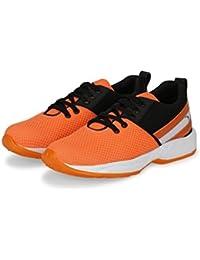 Kzaara Orange Mesh Lace-Up Shoes For Men