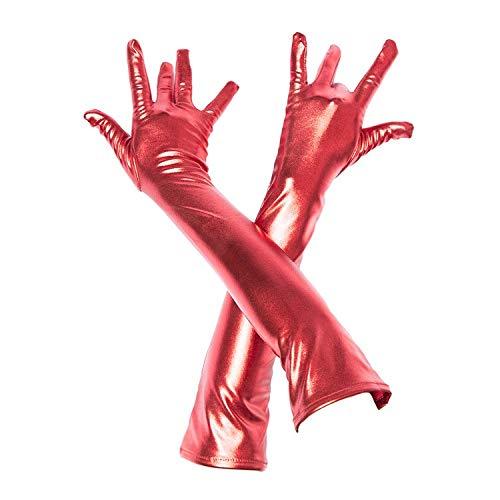 3 Paar Damen Wet Look Lange Handschuhe Abend Club Party Kleid Cosplay Opera Fingerhandschuhe, 16 Zoll Arbeitshandschuhe (Color : Silver+Red+Black)
