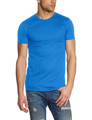 Trigema Herren T-Shirt Slim Fit, Einfarbig Blau (Electric-Blue 048)