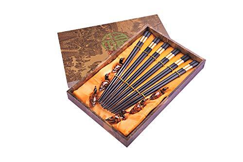 Quantum Abacus Black Metal Set de Baguettes de Luxe en Alliage métallique dans Coffret Cadeau - 6 Paires des Baguettes en métal Noir, 6 Supports, SC-H-S6-ML-01