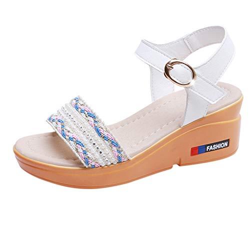 Mitlfuny Damen Sommer Sandalen Bohemian Flach Sandaletten Sommer Strand Schuhe,Mode Dame Wild Summer Slope mit Open Toe Plattform Wort Schnalle Sandalen - Für Qupid Sandalen Frauen-plattform
