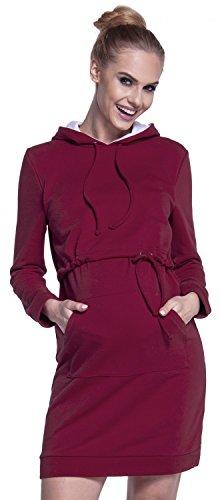 Happy Mama. Damen 2in1 Umstands Still Sweatshirt-Kleid Kapuze Lagendesign. 208p Purpur