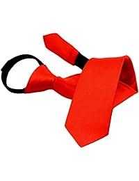 Correas de Cremallera de satén de Color sólido para niños, Corbata de Cuello Ajustable Corbata para el Rendimiento de los niños, Fiestas, Bodas, Iglesia, Escuela