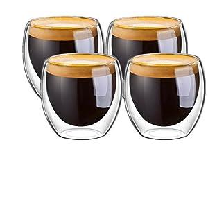 Jinken Double Walled Glass Heat-Resistance Espresso/Macchiato Coffee Cups - Box Set of 4, 80ml