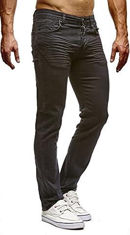 LEIF NELSON Herren Hose Jeans Jeanshose Stretch Freizeithose Schwarz LN307SC-RF; W36L32, Schwarz