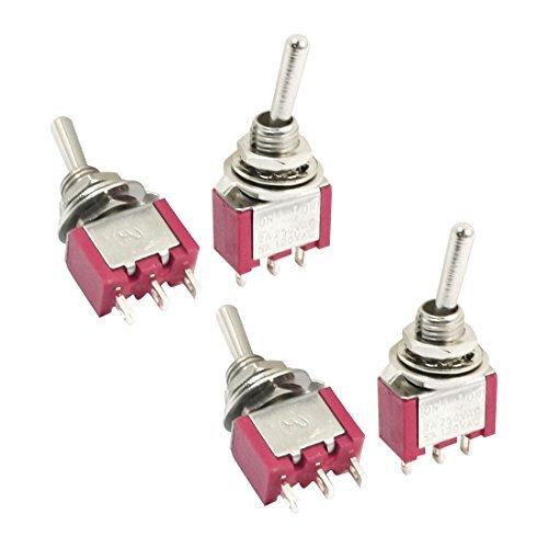 DealMux SPDT ON-OFF-ON 3 Position Locking Toggle AC 120V 5A Rot 4pcs Schalter -