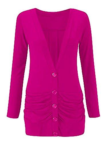 Ladies Womens Longsleeve Button up Boyfriend Pocket Cardigan Size 8-26 Cerise