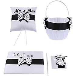 Conjunto Mr&Mrs en negro con cesta, cojín para anillos, libro de firmas y bolígrafo