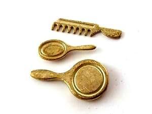 Maison De Poupées Miniature Chambre À Coucher Table D'habillage Accessoire Miroir, Pinceau & Kit De Peigne