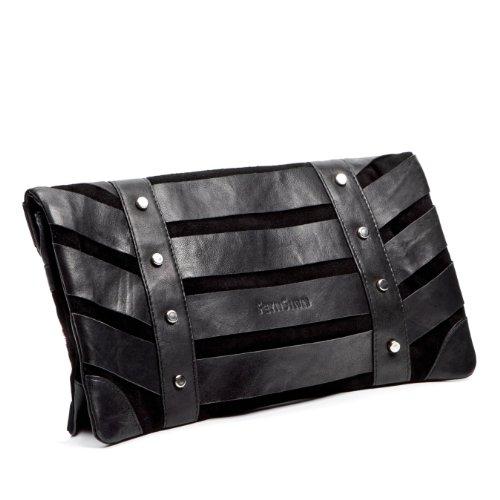 FEYNSINN Clutch SARAH - Abendtasche groß fit für 11, iPad - Unterarmtasche - echt Leder schwarz schwarz