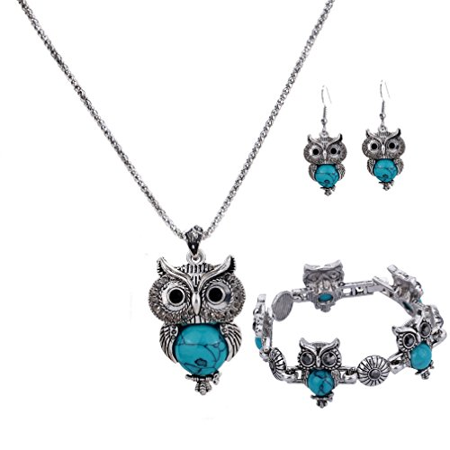 ilber überzogene Weinlese Türkis Blau Eulen hängende Halskette Tropfen Ohrring Armband für Frauen Schmucksachen ()