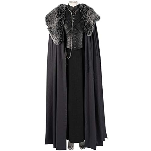 Kostüm Silly - nihiug Spiel der Rechte Staffel 8 Cos Kostüm Sansa Stark Three Silly Windbreaker Full Cosplay Halloween,Black-M